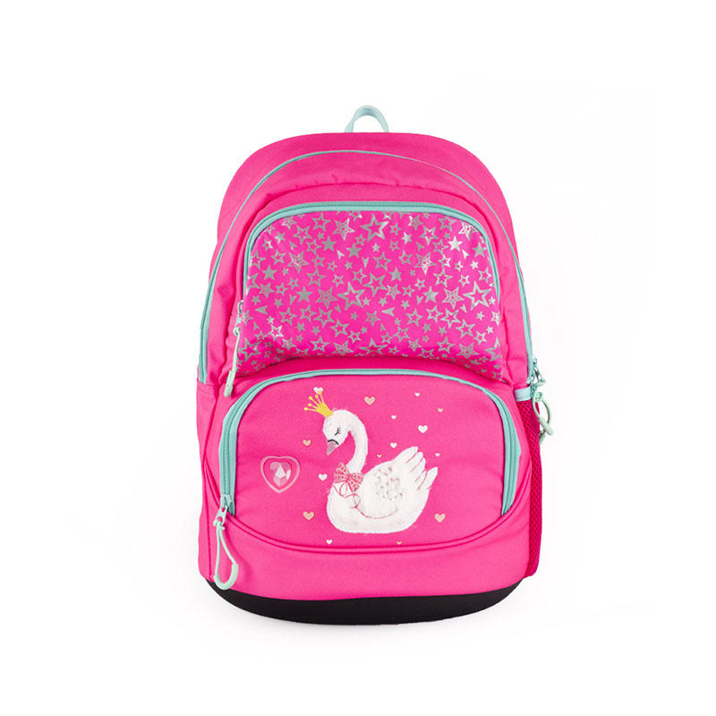 Reflective swan pink girls school backpack with cooler bag 201901006B