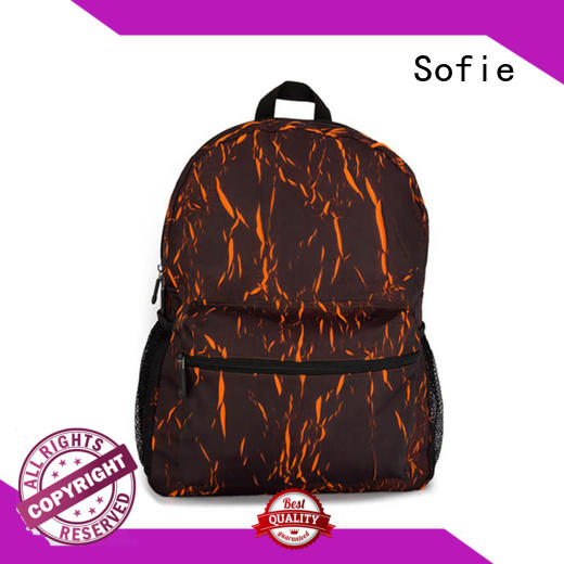 Sofie PU leather handle canvas backpack personalized for school