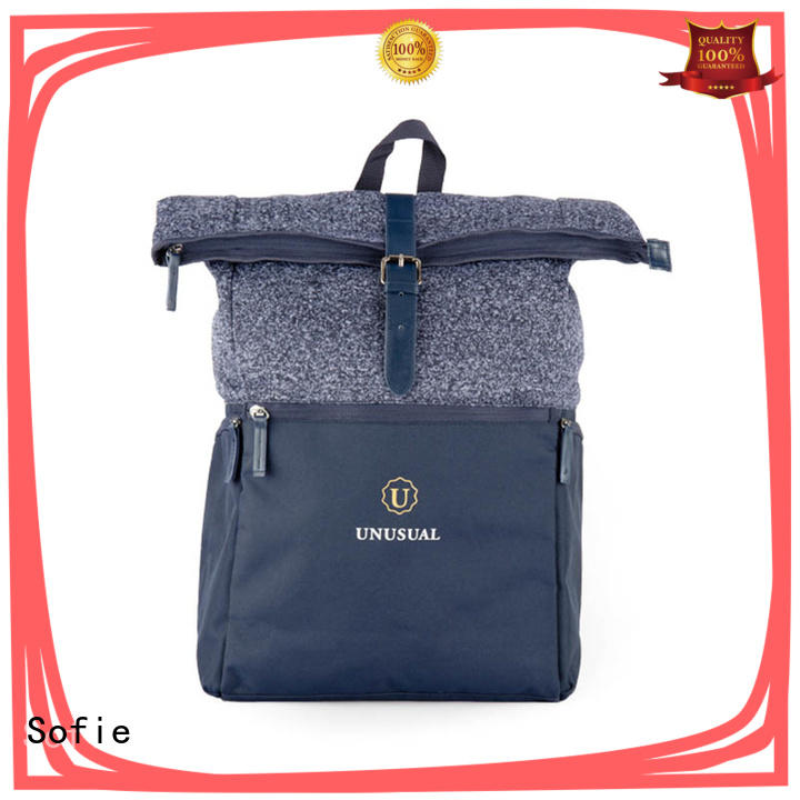 Sofie two zipper side canvas backpack supplier for business