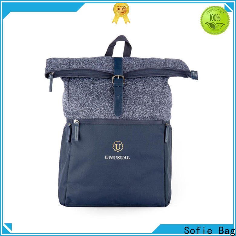Sofie knitted fabric canvas backpack customized for school