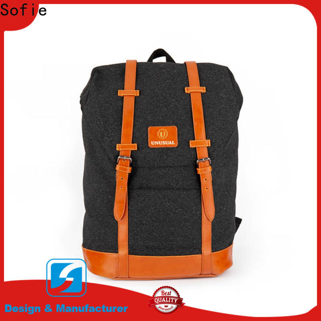PU leather handle backpack customized for school