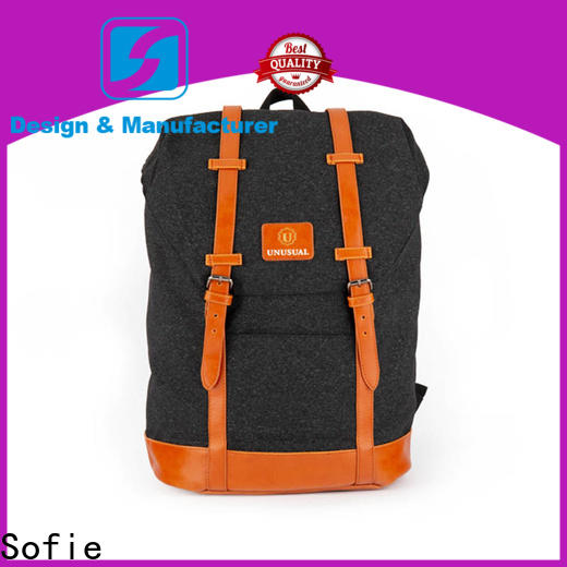 Sofie PU leather handle laptop backpack manufacturer for school